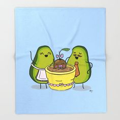Cute Avocado Baby Blanket - Funny and sweet - Avacado Avocado Cartoon, Avocado Art, Cute Avocado, Avocado Brownies, Avocado Smoothie, Avocado Gifts, Best Friend Wallpaper, Cute Puns, Food Cartoon