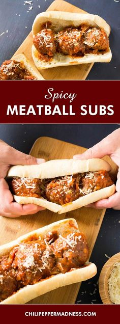Spicy Meatballs Sub Sandwiches - Satisfy the biggest of appetites with this recipe for seasoned beef meatballs seared then slow cooked and drenched in habanero-tomato sauce with @ElYucateco Red Chile Habanero hot sauce. Just the right amount of spice and HUGE on flavor. Game day is on the way!