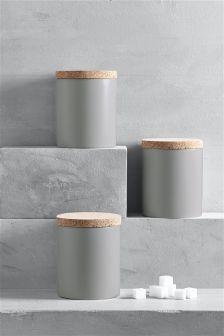 Grey Set Of 3 Hutton Storage Jars (182220)   £18