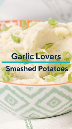 A perfect side dish for any meal, these Garlic Lovers Smashed Potatoes pack a ton of flavor. This easy recipe for mashed potatoes features an easy supermarket shortcut by using already peeled garlic cloves to give these mashed potatoes a flavorful kick. Rather than hand mashing, use a hand mixer to whip this side dish together quickly. Serve with any of your favorite meals and you'll have a new favorite dinner on the table in no time! #mashedpotatoes #potato #potatoes #garlic #sidedish Steak Side Dishes, Hand Mixer, Drinks Alcohol Recipes, Lunches And Dinners, Potato Recipes, Dinner Recipes, Dinner Ideas, Mashed Potatoes, Garlic