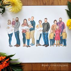 Drawing your family together by PencilMeInByJessShop Family Portrait Drawing, Family Drawing, Family Painting, Family Illustration, Illustration Art, Watercolor Portraits, Watercolor Art, Large Family Portraits, Animal Art Prints