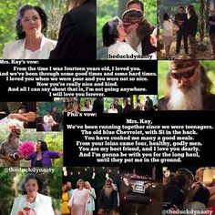 Duck Dynasty wedding vows. i just find this about the sweetest thing ever!