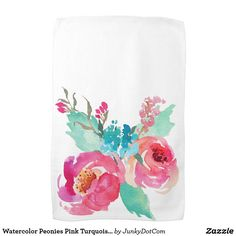 Watercolor Peonies Pink Turquoise Summer Bouquet Hand Towel Sept 6 2017 - #zazzle #junkydotcom #gifts