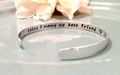 Hand Stamped Wedding Bracelet - Personalized Jewelry - Thin, Custom Bridal Cuff with Secret Message - Bridal Shower Gift
