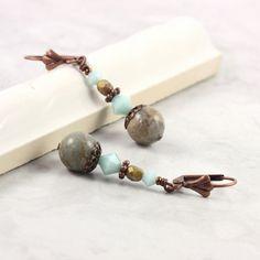 Aqua Terra Jasper Earrings Mint Green by AbacusBeadCreations