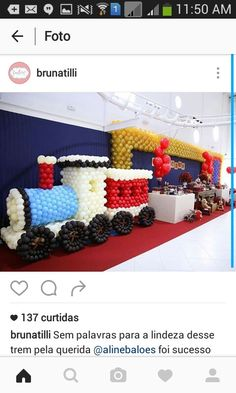 Thomas The Train, Balloon Decorations, 4th Of July Wreath, Balloons, Sculptures, Ideas, Train, Cars, Pictures