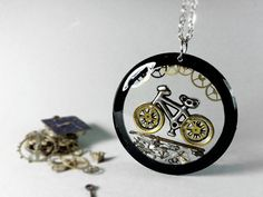 Bicycle pendant bicycle resin necklace bicycle by ByEmilyRay