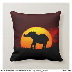 Shop Wild elephant silhouette & sunrise on a jungle throw pillow created by Bloom_ideas. Elephant Silhouette, Animal Silhouette, Elephant Throw Pillow, Throw Pillows, Wild Elephant, Custom Pillows, House Colors, Sunrise, Wildlife
