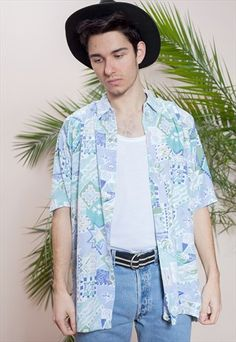 Abstract+print,+men's+collar+shirt+from+the+90s