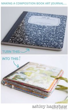 'Making a Composition Book Art Journal...love this idea for my kids or my montessori art class