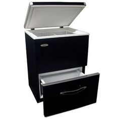 Haier dual zone chest freezer. Great off-grid option! Fridge compartment above, freezer drawer below. A little over $300. Found them here: http://www.appliancewarehousecenter.com/Haier_LW145AW_5_1_C_Ft_Chest_Freezer_Access_Plus_p/lw145aw.htm