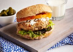 The most delicious Lemon Thyme Chicken Burger is a perfect spring dinner. Healthy Chicken Recipes, Real Food Recipes, Healthy Food, Lemon Thyme Chicken, Sandwiches, Recipe Today, Recipe Box, Grilling Recipes, Burger Recipes