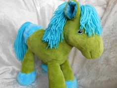 Heavenly Meadows PlushBumPony - Green HORSE turquoise hooves Wild Mane - Home DECOR Soft Toy - Handmade OOAK tallhappycolors