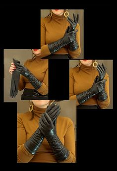 Fetish Fashion, 70s Fashion, Womens Fashion, Black Leather Gloves, Leather Pants, Elegant Gloves, Long Gloves, Daily Look, Bootie Boots