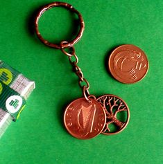 """NEW PAIR OF 30th WEDDING ANNIVERSARY GIFT /""""COPPER/"""" Polished 1990 PENNY KEYRINGS"""