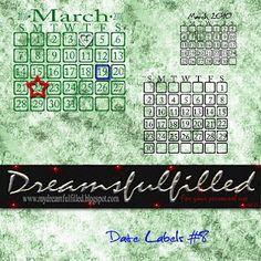Dreamsfulfilled: Date Labels #8. Colección para crear nuestros propios calencarios.