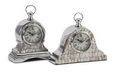 IMAX Home 60982-2 Aluminum Mother of Pearl Clock - Set of 2 Home Decor Clocks Desk Clocks