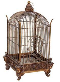 Antique Wrought Iron Bird Cage | Cage décorative en fer forgé