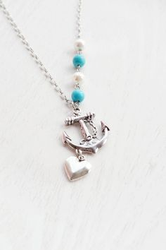 Anchor Necklace,Silver Anchor Charm Jewelry,BFF,Graduation Gift,Anchor Pendant,Wedding Jewelry,Sailor Gift,Nautical,Turquoise,Pearl,Long Anchor Charm,Casual Necklace,  Rockabilly