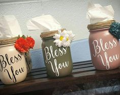 Bless you tissue holder, tissue mason jar holder, mason jar tissue holder, kleenex holder