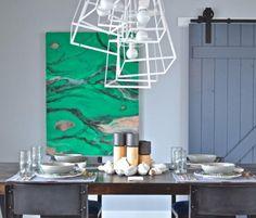 The geometric frames of this chandelier add a modern twist.