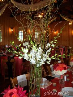 orchid & branch centerpiece
