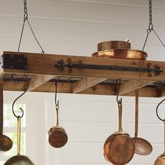 Farmhouse - Display your cookware on a hanging pots rack inspired by French country kitchens. Come Home to Comfortable Living Through the Country Door! Farmhouse Pot Racks, Rustic Pot Racks, Farmhouse Decor, Country Kitchen Lighting, Rustic Kitchen, Kitchen Decor, Kitchen Island Pot Rack, Kitchen Rack, Pot Rack Hanging