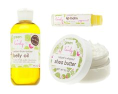 Mommy to Be Green Gift Set. Organic Pregnancy Belly Oil, Shea Butter, and Lip Balm. Organic, plant-based ingredients. Luxurious. Baby Shower Gift.