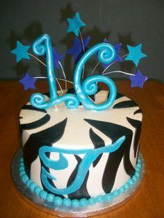 Sweet 16 Blue Zebra Theme Birthday Cake