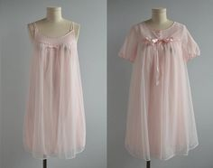 Vintage 1960s Lingerie / 60s Pale Pink Baby Doll Negligee Set Nightgown Peignoir Set with Lace and Satin Bows