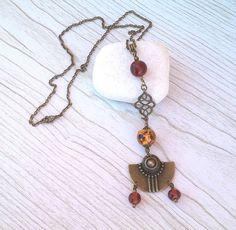 Sautoir chaine couleur bronze (60cm) avec perles de verre filé au chalumeau ton topaze foncé et tigré. : Collier par auverredoz