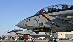 F-14B with F-18F following final VF-103 Tomcat Cruise.