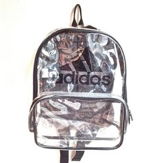 90's Clear Adidas Large PVC See Through Backpack (1,465 MXN) ❤ liked on Polyvore featuring bags, backpacks, accessories, adidas, backpack bags, rucksack bags, transparent bag, vintage rucksack and adidas backpack