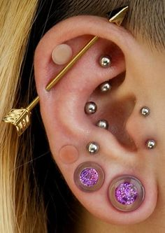 Unique placement of several ear piercing ideas - Gold Industrial Arrow Barbell - S . Unique Ear Piercings, Industrial Piercing Jewelry, Industrial Earrings, Ear Piercings Cartilage, Multiple Ear Piercings, Body Piercings, Cartilage Earrings, Industrial Barbell, Gauges