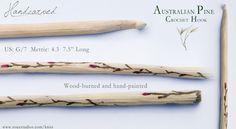 "Hand-Carved Australian Pine Crochet Hook, Pink Bloom Flower Design, Size G/7, 7.5"" Long Price: $25"