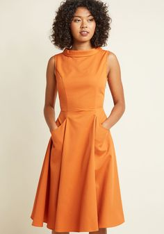 Mod for Each Other A-Line Midi Dress | ModCloth - I love the style of this - you could add a jacket or cardigan or a scarf as well to bring in different colors.