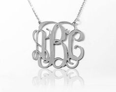 Silver Monogram Necklace 1 inch by MonogramNecklaceVip on Etsy Sterling Silver Monogram Necklace, Trending Outfits, Unique Jewelry, Handmade Gifts, Etsy, Favorite Things, Santa, Casual, Kid Craft Gifts