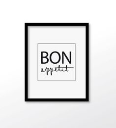 $2.99 Bon Appetit Print French Quote Typography Print by dadaprintables