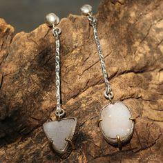 Druzy earrings in silver bezel setting with polished brass prongs