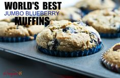 """All recipes 8 ingredients or less! These """"World's Best Jumbo Blueberry Muffins"""" or to die for, Vegan, Gluten-free, Oil-free and just 8 ingredients! By http://THEVEGAN8.COM #vegan #glutenfree #oilfree #muffins #blueberry"""
