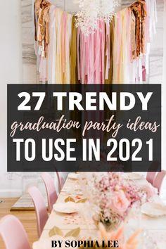 graduation party ideas 2021 Pink Graduation Party, Outdoor Graduation Parties, High School Graduation Gifts, Graduation Decorations, Graduation Ideas, Nail Art, Party Ideas, Gift Ideas, Open House