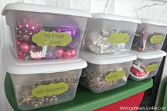 Christmas Ornament Storage w/Silhouette Tags