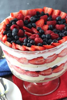Triple Berry Trifle - layers of whipped cream, angel food cake, cheesecake pudding and lots of berries!