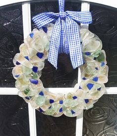Sea glass wreath with blue checked bow Artwork For Home, Sea Glass, Etsy Seller, Pottery, Bows, Wreaths, Unique, Creative, Home Decor