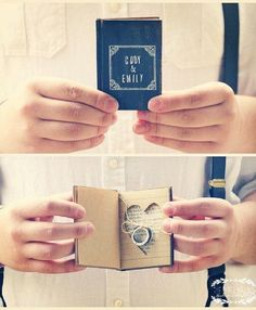 For the book lovers: a customized mini book for the wedding bands!  | www.mysweetengagement.com