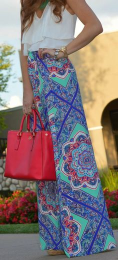 Everyday New Fashion: Long Printed Maxi Skirts Top White