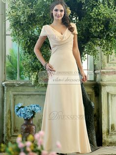 $91.89Modest A-line Chiffon Short Sleeves Cowl Neck Ankle-length Draped Front #Chiffon #Bridesmaid #Dresses