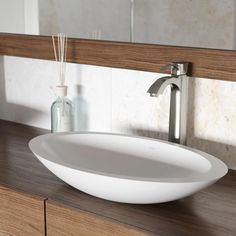 "Vigo VGT1242 PVD Brushed Nickel 23"" Matte Stone™ Vessel Bathroom Sink with Single Hole Faucet and Pop-up Drain Assembly Stone Vessel Sinks, Vessel Sink, Bathroom Faucets, Small Bathroom, Modern Bathroom, Single Hole Faucet, Bathroom Sink, Bathroom Decor, Sink"