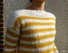 "Un Pull-Tube façon ""Marinière"" (Patron maison) par m Gg++ Drops Design, Men Sweater, Pullover, Sewing, Knitting, Crochet, Sweaters, Tops, Women"
