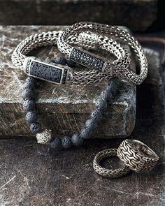 Men's Classic Chain Black Volcanic and Black Sapphire Bracelet